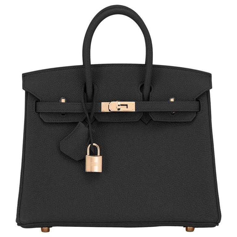 Hermes Birkin 25 Black Togo Rose Gold Hardware Bag Jewel Y Stamp, 2020