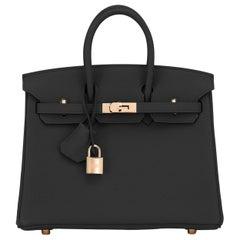 Hermes Birkin 25 Black Togo Rose Gold Hardware Bag Z Stamp, 2021