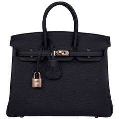 Hermes Birkin 25 Black Togo Rose Gold Hardware New w/Box
