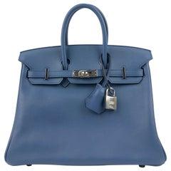 Hermes Birkin 25 Blue Agate Palladium Hardware