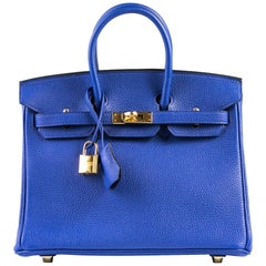 Hermes Birkin 25 Blue Electric Togo Gold Hardware