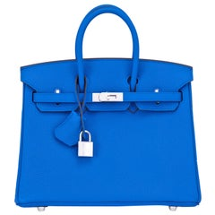 Hermes Birkin 25 Blue Zellige Verso Capucine Orange Bag Z Stamp, 2021