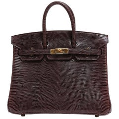 Hermes Birkin 25 Brown Lizard Exotic Gold Top Handle Tote Shoulder Bag