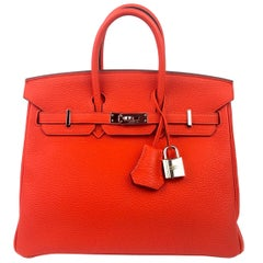 Hermes Birkin 25 Capucine Orange Red Palladium Hardware 2016