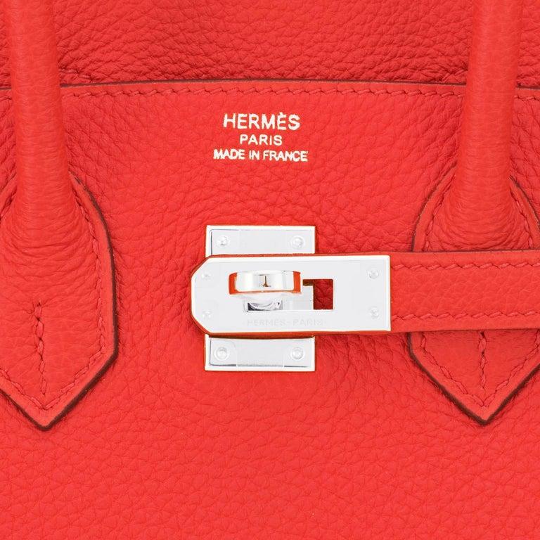 Hermes Birkin 25 Capucine Red Orange Togo Bag NEW For Sale 6