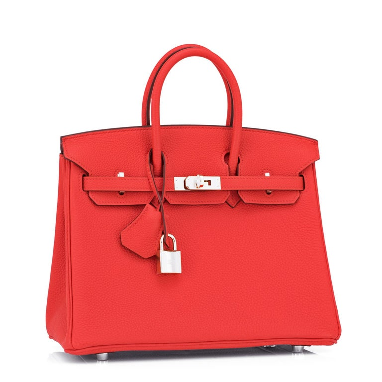 Hermes Birkin 25 Capucine Red Orange Togo Bag NEW New or Never Worn. Pristine condition (plastic on hardware).  Perfect gift! Comes full set with keys, lock, clochette, a sleeper for the bag, and orange Hermes box.  Capucine is a spectacular