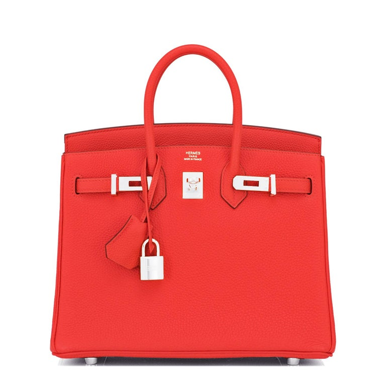 Hermes Birkin 25 Capucine Red Orange Togo Bag NEW In New Condition For Sale In New York, NY