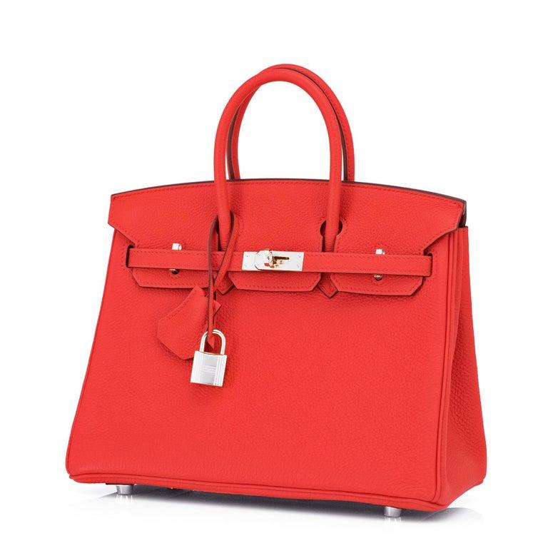 Women's Hermes Birkin 25 Capucine Red Orange Togo Bag NEW For Sale