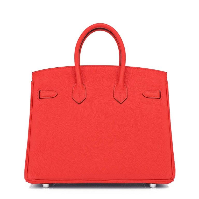 Hermes Birkin 25 Capucine Red Orange Togo Bag NEW For Sale 2