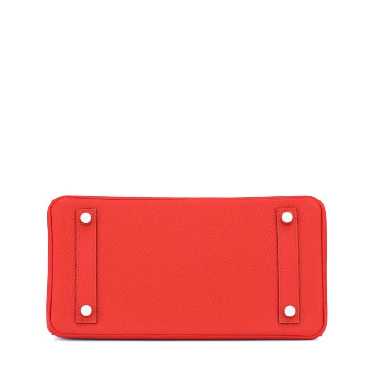 Hermes Birkin 25 Capucine Red Orange Togo Bag NEW For Sale 3