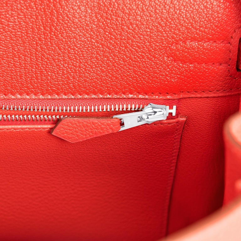 Hermes Birkin 25 Capucine Red Orange Togo Bag NEW For Sale 5