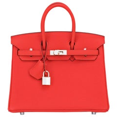 Hermes Birkin 25 Capucine Red Orange Togo Bag NEW
