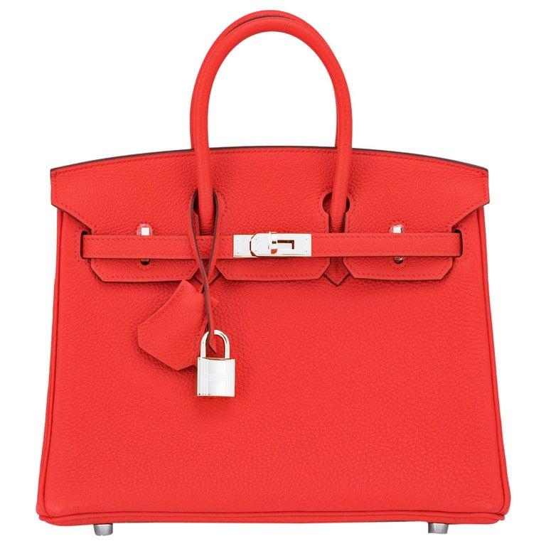 Hermes Birkin 25 Capucine Red Orange Togo Bag NEW For Sale