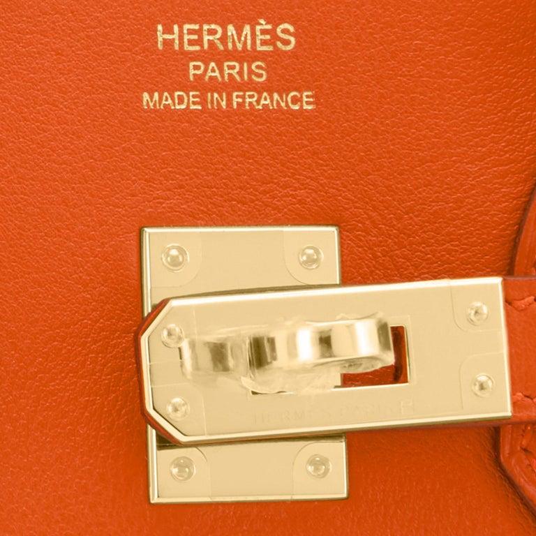 Hermes Birkin 25 Classic Hermes Orange Gold Hardware Bag RARE NEW  For Sale 7
