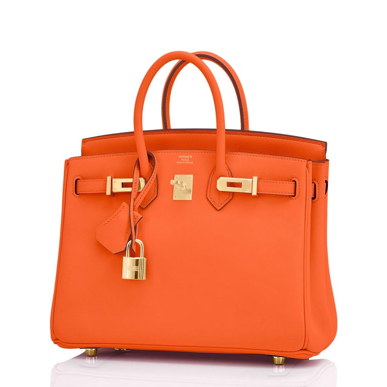 Hermes Birkin 25cm Classic Hermes Orange Gold Hardware Bag RARE NEW  New or Never Used. Pristine Condition (with plastic on hardware) Comes full set with keys, lock, clochette, a sleeper for the bag, rain protector, and Hermes box. 25cm Birkins are