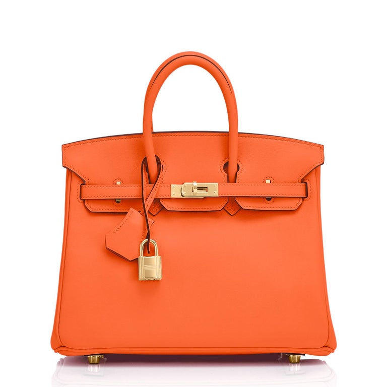 Red Hermes Birkin 25 Classic Hermes Orange Gold Hardware Bag RARE NEW  For Sale