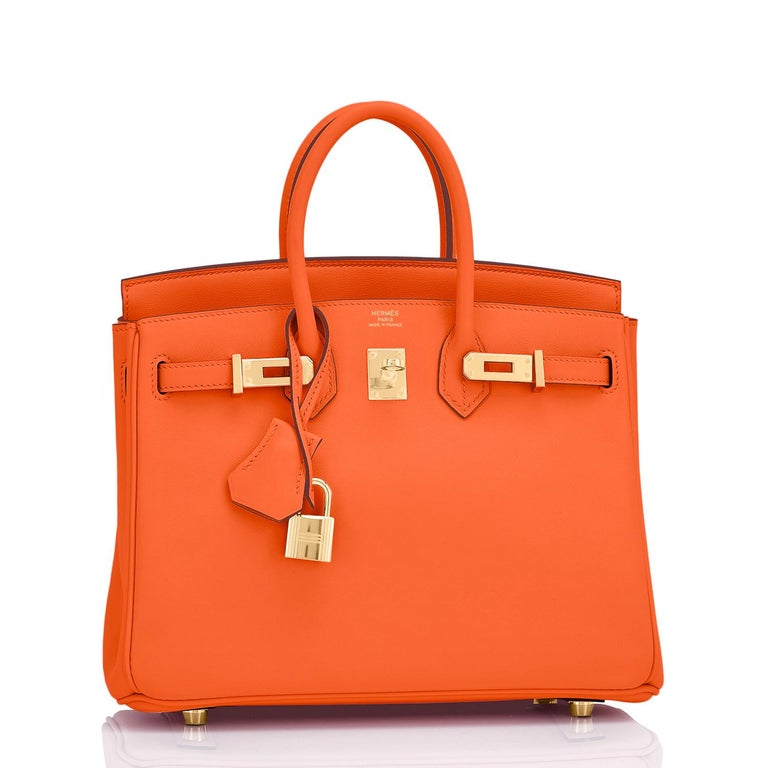 Hermes Birkin 25 Classic Hermes Orange Gold Hardware Bag RARE NEW  In New Condition For Sale In New York, NY