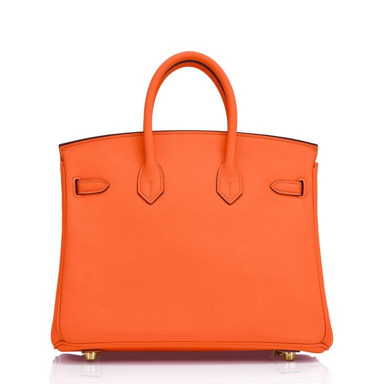 Women's or Men's Hermes Birkin 25 Classic Hermes Orange Gold Hardware Bag RARE NEW  For Sale