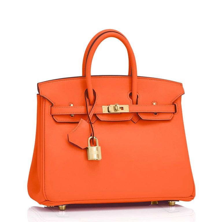Hermes Birkin 25 Classic Hermes Orange Gold Hardware Bag RARE NEW  For Sale 1