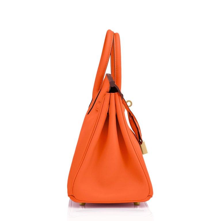 Hermes Birkin 25 Classic Hermes Orange Gold Hardware Bag RARE NEW  For Sale 2