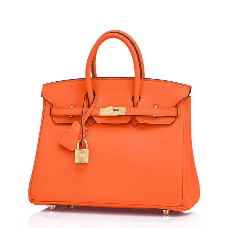 Hermes Birkin 25 Classic Hermes Orange Gold Hardware Bag RARE NEW  For Sale 3