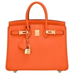 Hermes Birkin 25 Classic Hermes Orange Gold Hardware Bag RARE NEW