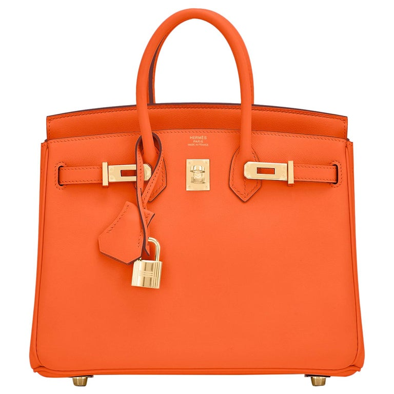Hermes Birkin 25 Classic Hermes Orange Gold Hardware Bag RARE NEW  For Sale
