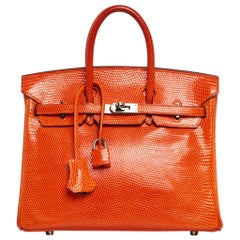 Hermes Birkin 25 Coveted Lizard Tangerine Palladium Hardware