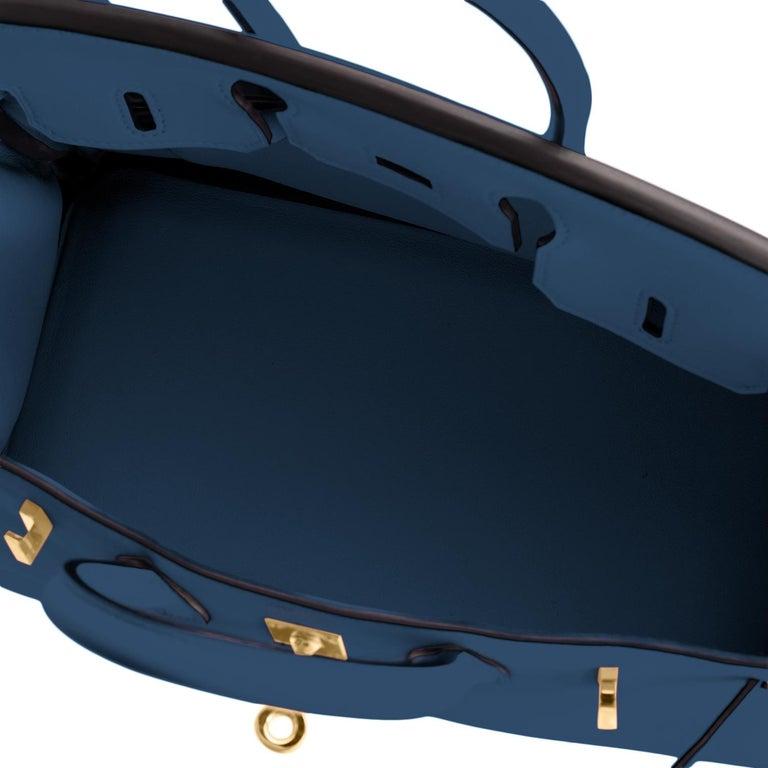 Hermes Birkin 25 Deep Blue Jewel Toned Navy Bag Gold Hardware Y Stamp, 2020 For Sale 5