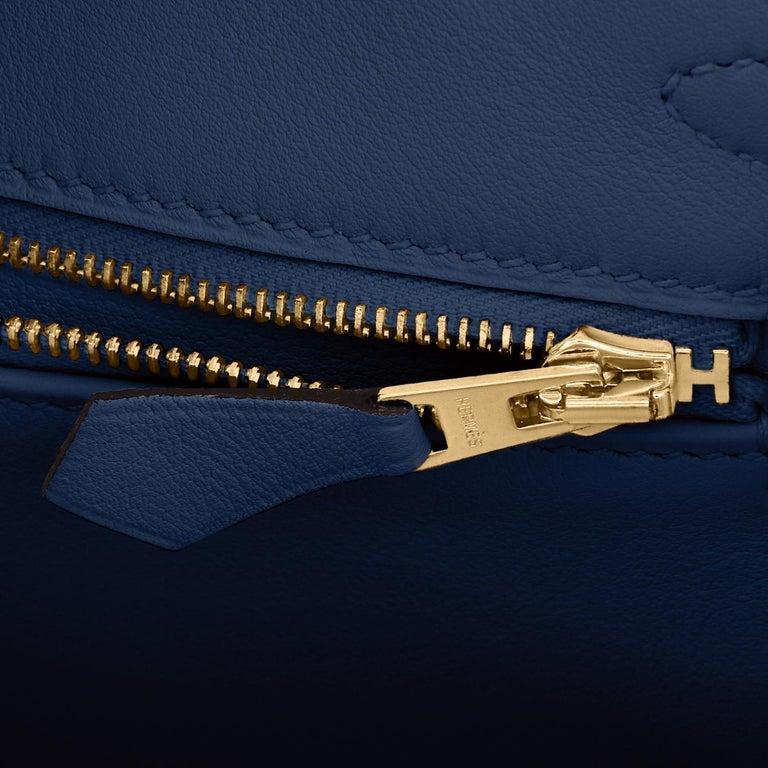 Hermes Birkin 25 Deep Blue Jewel Toned Navy Bag Gold Hardware Y Stamp, 2020 For Sale 6