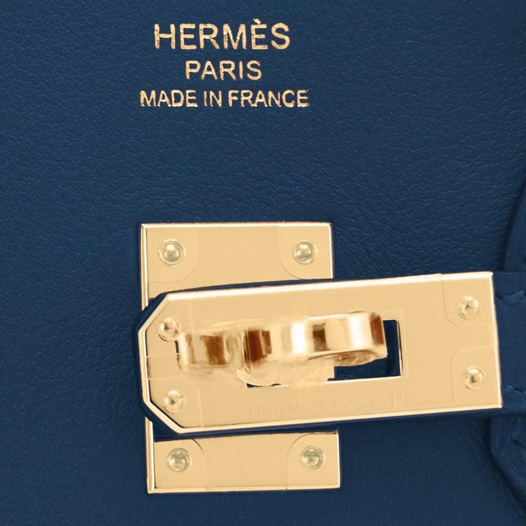 Hermes Birkin 25 Deep Blue Jewel Toned Navy Bag Gold Hardware Y Stamp, 2020 For Sale 7