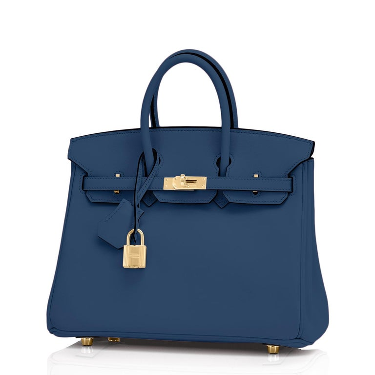 Hermes Birkin 25 Deep Blue Jewel Toned Navy Bag Gold Hardware Y Stamp, 2020 Sublime jewel-tone Deep Blue is gorgeous and perfectly on point for the top color trend of the new year. Brand New in Box. Store Fresh. Pristine Condition (with plastic on