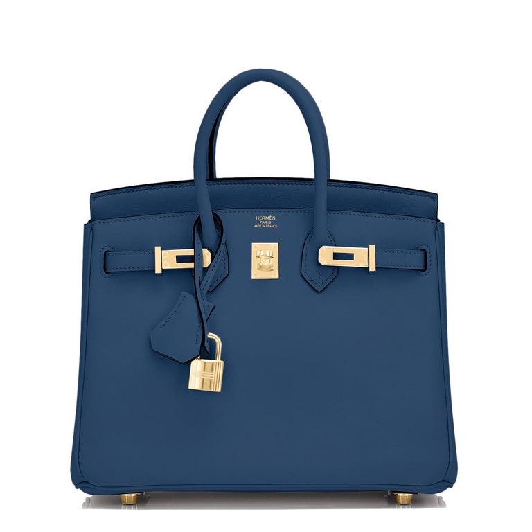 Purple Hermes Birkin 25 Deep Blue Jewel Toned Navy Bag Gold Hardware Y Stamp, 2020 For Sale