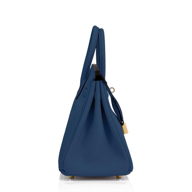 Women's or Men's Hermes Birkin 25 Deep Blue Jewel Toned Navy Bag Gold Hardware Y Stamp, 2020 For Sale