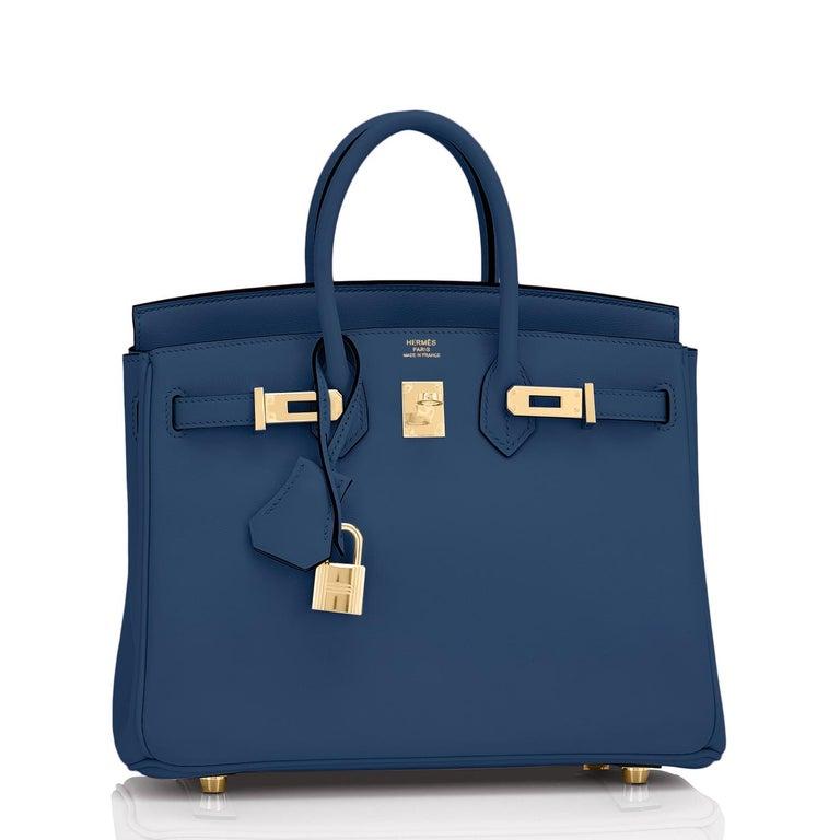 Hermes Birkin 25 Deep Blue Jewel Toned Navy Bag Gold Hardware Y Stamp, 2020 For Sale 3