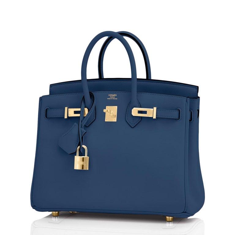 Hermes Birkin 25 Deep Blue Jewel Toned Navy Bag Gold Hardware Y Stamp, 2020 For Sale 4