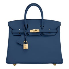 Hermes Birkin 25 Deep Blue Jewel Toned Navy Bag Gold Hardware Y Stamp, 2020