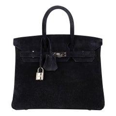 Hermes Birkin 25 Doblis Bag Black Suede Palladium Hardware