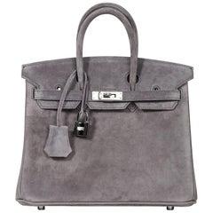 Hermes Birkin 25 Doblis Bag Gris Fume Suede Palladium Hardware
