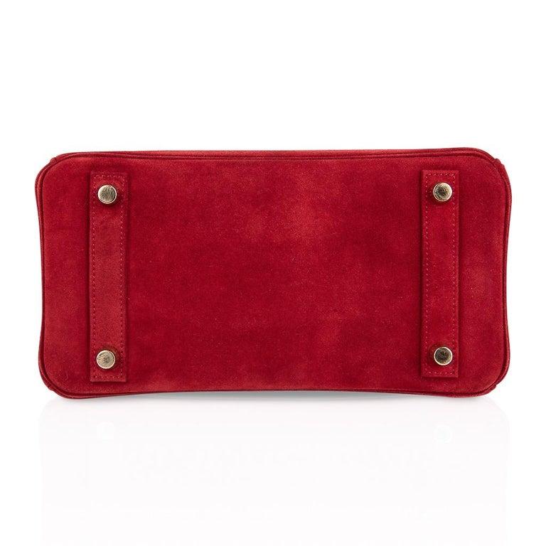 Hermes Birkin 25 Doblis Bag Rouge Vif Suede Gold Hardware For Sale 5
