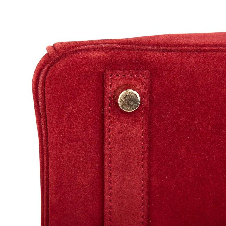 Hermes Birkin 25 Doblis Bag Rouge Vif Suede Gold Hardware For Sale 6
