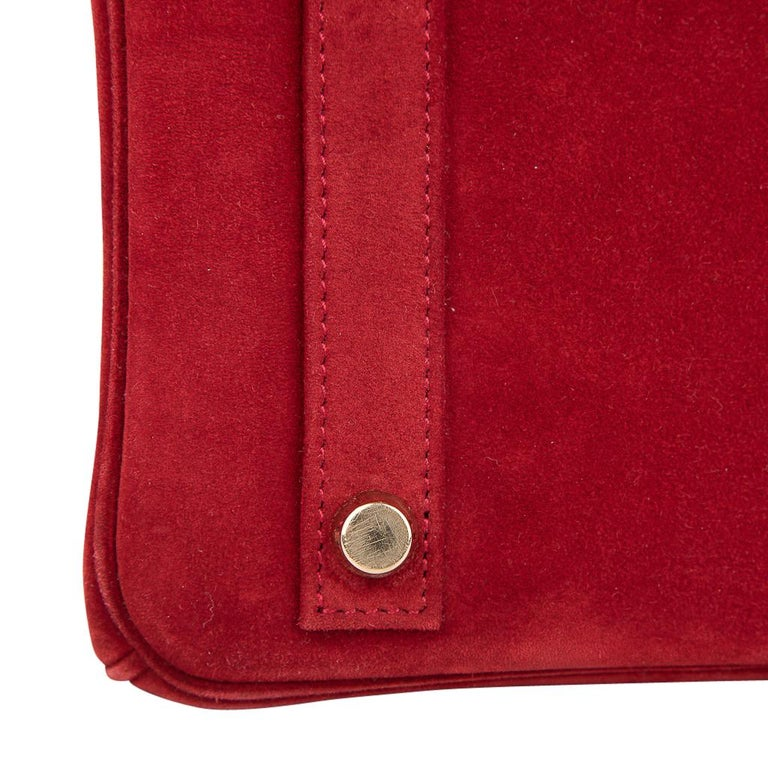 Hermes Birkin 25 Doblis Bag Rouge Vif Suede Gold Hardware For Sale 7
