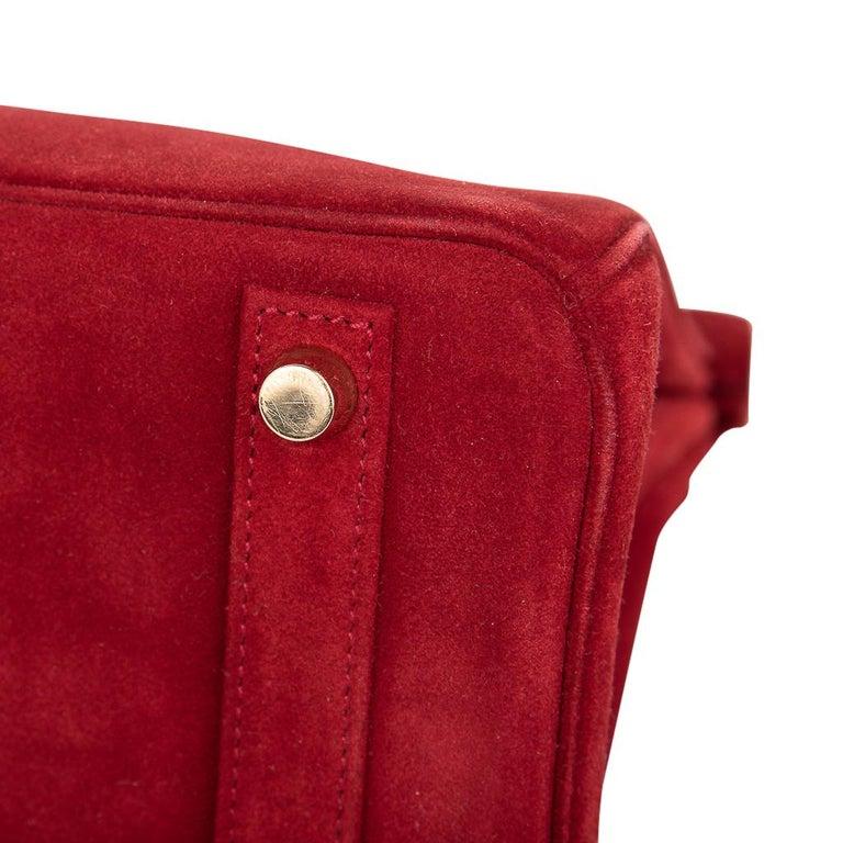 Hermes Birkin 25 Doblis Bag Rouge Vif Suede Gold Hardware For Sale 8