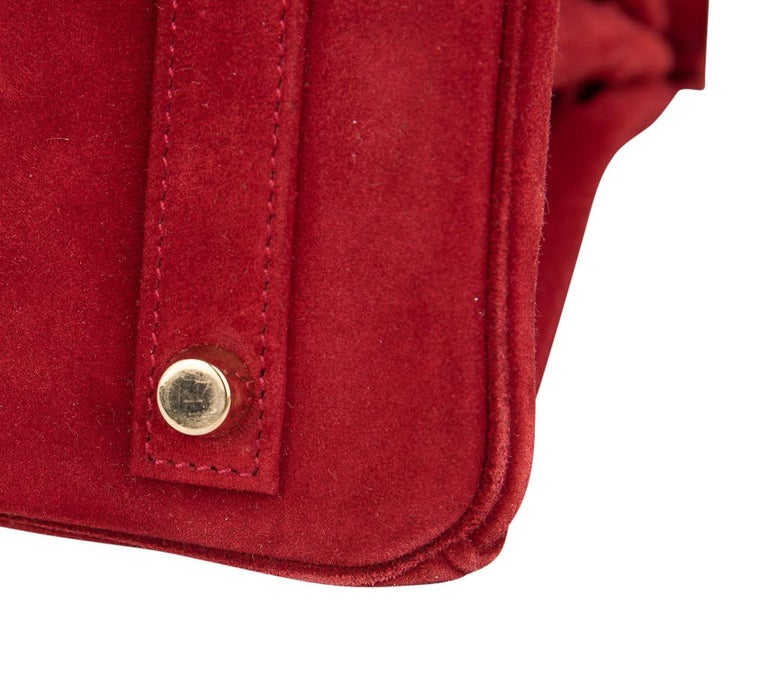 Hermes Birkin 25 Doblis Bag Rouge Vif Suede Gold Hardware For Sale 9