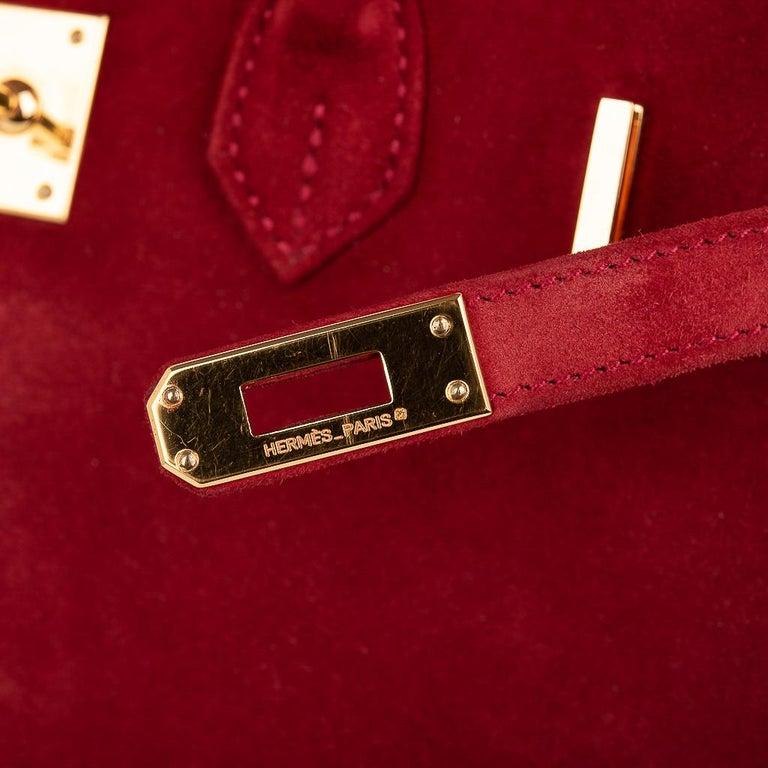 Red Hermes Birkin 25 Doblis Bag Rouge Vif Suede Gold Hardware For Sale
