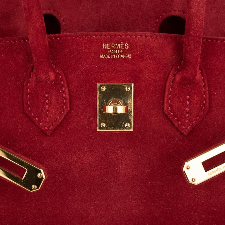 Hermes Birkin 25 Doblis Bag Rouge Vif Suede Gold Hardware In Good Condition For Sale In Miami, FL