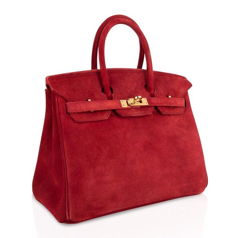 Women's Hermes Birkin 25 Doblis Bag Rouge Vif Suede Gold Hardware For Sale