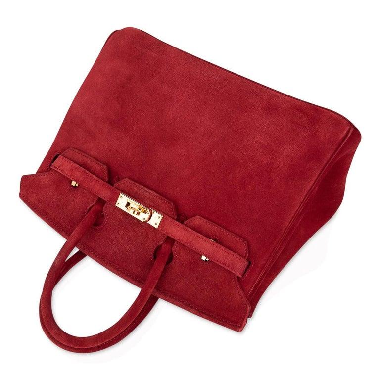 Hermes Birkin 25 Doblis Bag Rouge Vif Suede Gold Hardware For Sale 1