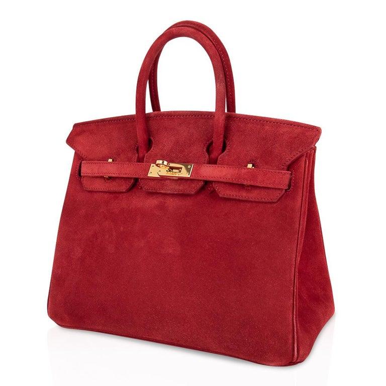 Hermes Birkin 25 Doblis Bag Rouge Vif Suede Gold Hardware For Sale 2