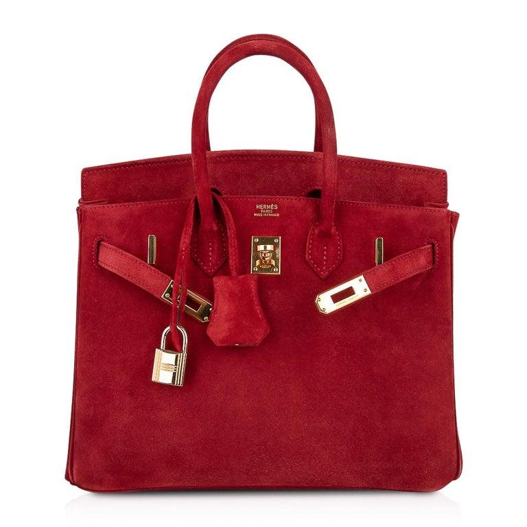 Hermes Birkin 25 Doblis Bag Rouge Vif Suede Gold Hardware For Sale 3